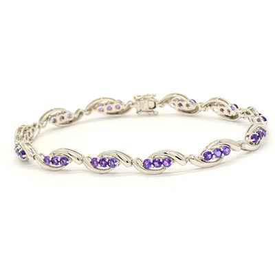 14KT White Gold 2.20CTW Round Brilliant Cut Natural Amethyst Tennis Bracelet