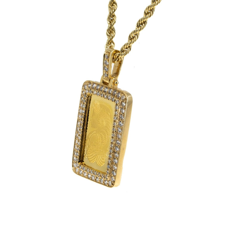 24KT Yellow Gold Pamp Suisse Lady Fortuna 1.15CTW Diamond Pendant - Giorgio Conti Jewelers