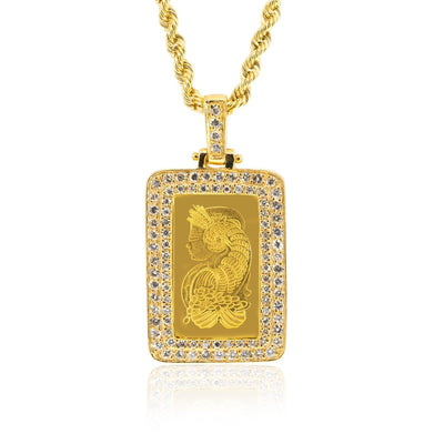 24KT Yellow Gold Pamp Suisse Lady Fortuna 1.15CTW NATURAL Diamond Pendant - Giorgio Conti Jewelers