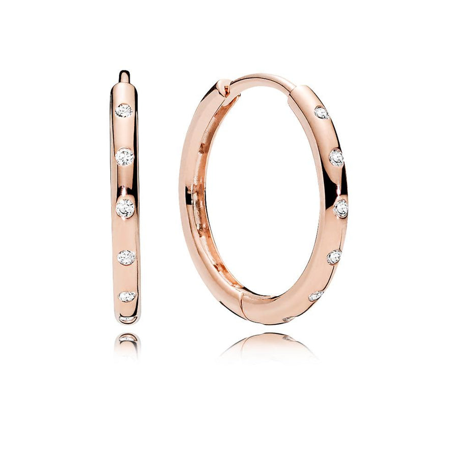 Hoop Earrings in PANDORA Rose with Clear Cubic Zirconia - Giorgio Conti Jewelers