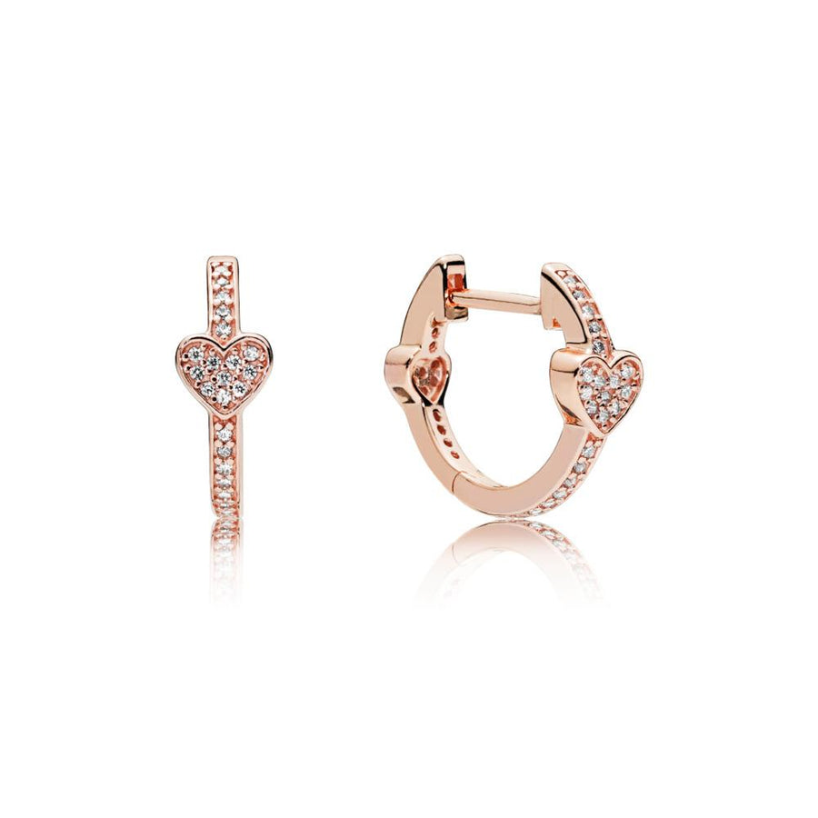 Hearts Hoop Earrings in PANDORA Rose with 76 Micro Bead-Set Clear Cubic Zirconia - Giorgio Conti Jewelers