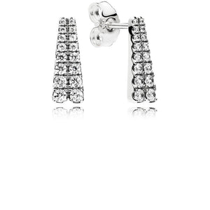 Earrings in Sterling Silver with 32 Bead-Set Clear Cubic Zirconia - Giorgio Conti Jewelers