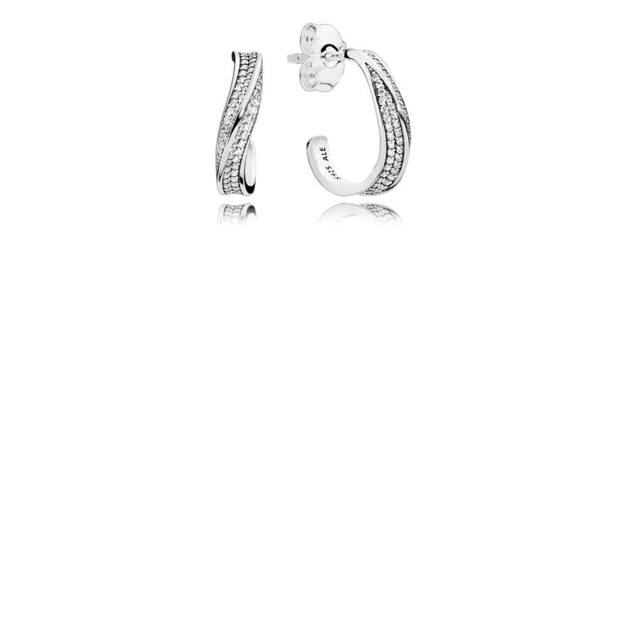 Earrings in Sterling Silver with 124 Micro Bead-Set Clear Cubic Zirconia - Giorgio Conti Jewelers