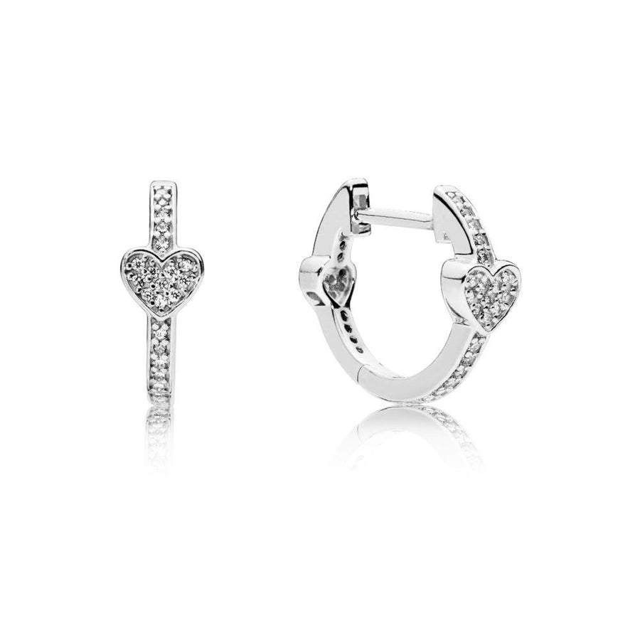 Hearts Hoop Earrings in Sterling Silver with 76 Micro Bead-Set Clear Cubic Zirconia - Giorgio Conti Jewelers