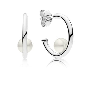 Hoop Earrings in Sterling Silver with 2 Peg-Set White Freshwater Cultured Pearls - Giorgio Conti Jewelers