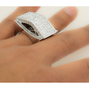 14KT White Gold Invisible 8.50CTW Diamond Mens Ring