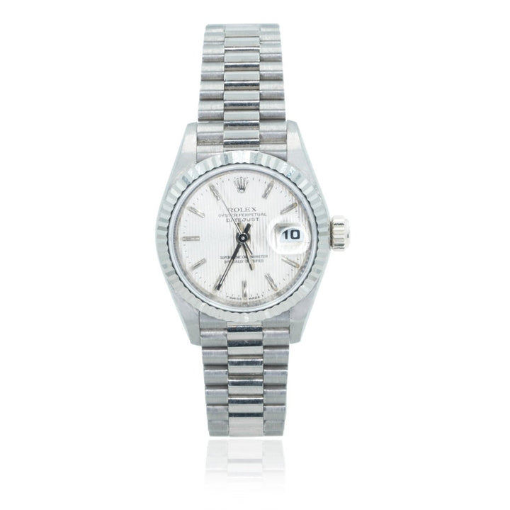 Rolex President 69179 Quickset 18KT White Gold Factory 26MM Womens Watch - Giorgio Conti Jewelers