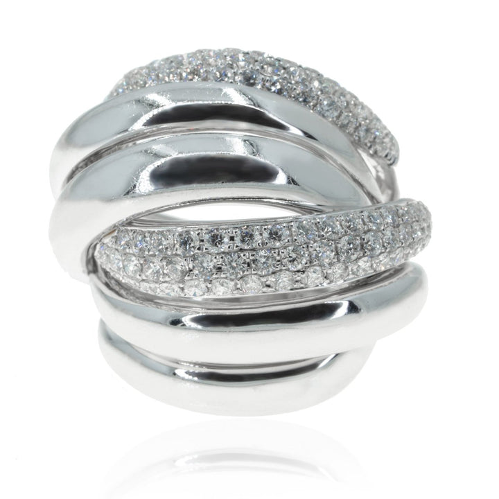Ladies White Gold 2.25CTW Diamond 6 Row Ring - Giorgio Conti Jewelers