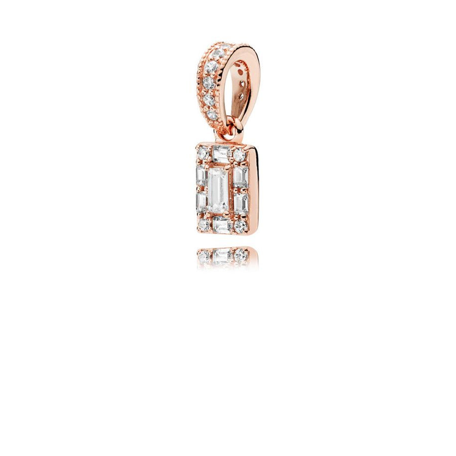 Ice Cube Pendant in PANDORA Rose with 7 Claw-Set Baguette-Cut and 15 Bead-Set Clear Cubic Zirconia - Giorgio Conti Jewelers