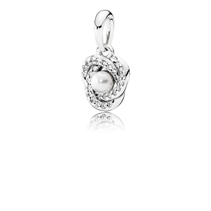Luminous Love Knot, White Crystal Pearl & Clear CZ - Giorgio Conti Jewelers