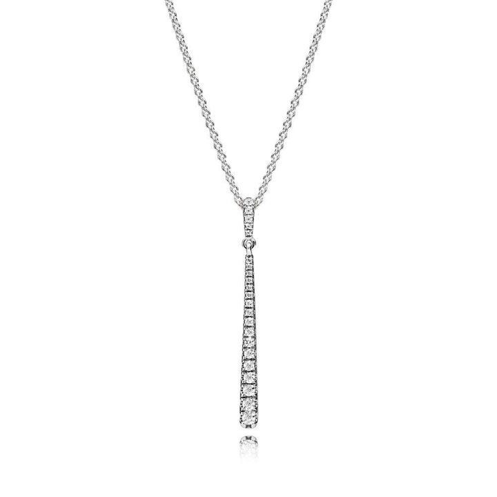 Pendant in Sterling Silver with Clear Cubic Zirconia and 60 Cm Chain with Sliding Clasp - Giorgio Conti Jewelers