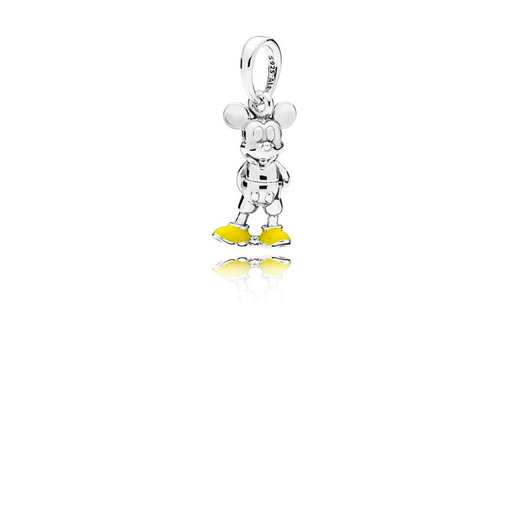 Disney, Classic Mickey Disney Mickey Silver Pendant with Yellow Enamel - Giorgio Conti Jewelers