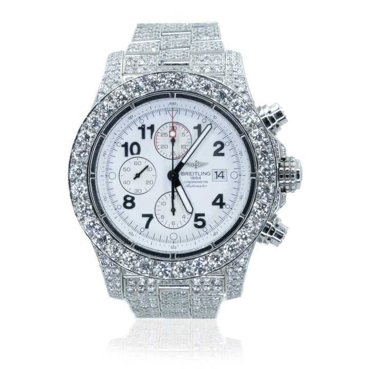 Breitling Super Avenger A13370 Chronograph 23.00CTW Diamond White Dial Mens Watch - Giorgio Conti Jewelers