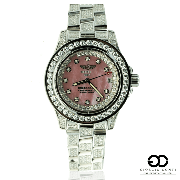BREITLING COLT OCEANEE A77380 15CTW DIAMOND PINK DIAL Womens WATCH - Giorgio Conti Jewelers