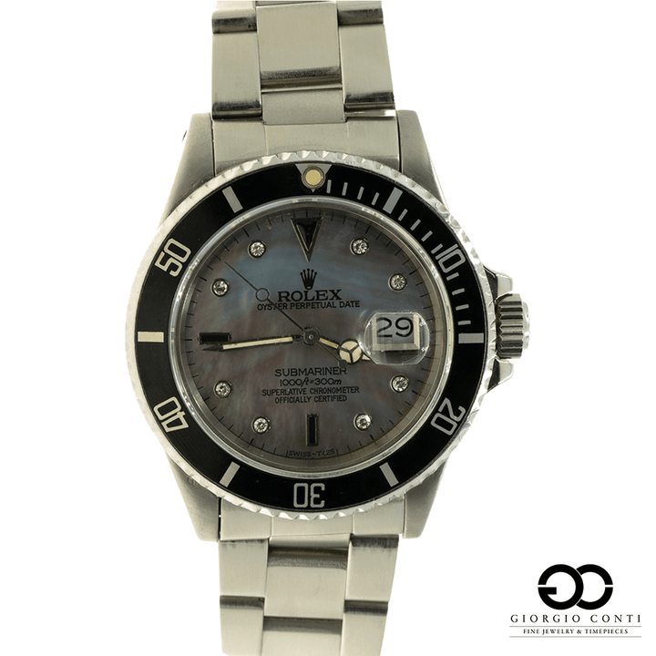 Rolex Submariner Date 16800 MOP Tahitian Serti Diamond Dial Mens Watch - Giorgio Conti Jewelers