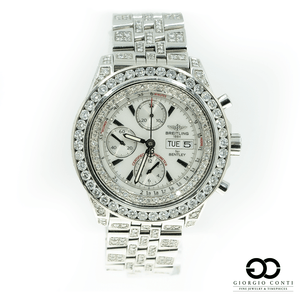 Breitling Bentley GT A13362 13.5CTW Diamond Silver Dial Watch - Giorgio Conti Jewelers