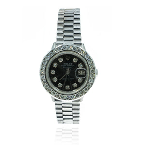 Rolex Datejust 6517 18kt White Gold President Band 2.3CTW Diamond Black Dial Womens Watch - Giorgio Conti Jewelers