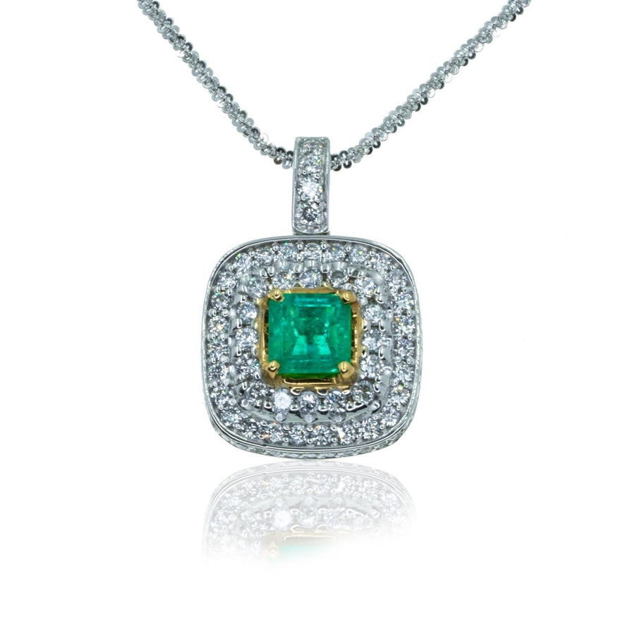 White Gold Pave Diamond With Colombian Emerald 3.07CTW Pendant - Giorgio Conti Jewelers