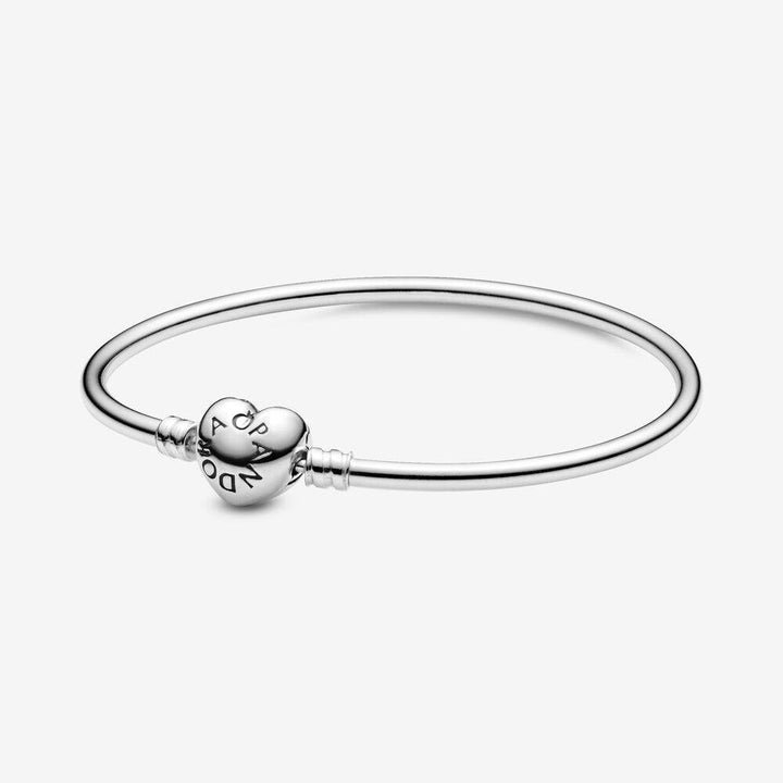 Pandora Moments Silver Bangle, Logo Heart Clasp 596268 - Giorgio Conti Jewelers