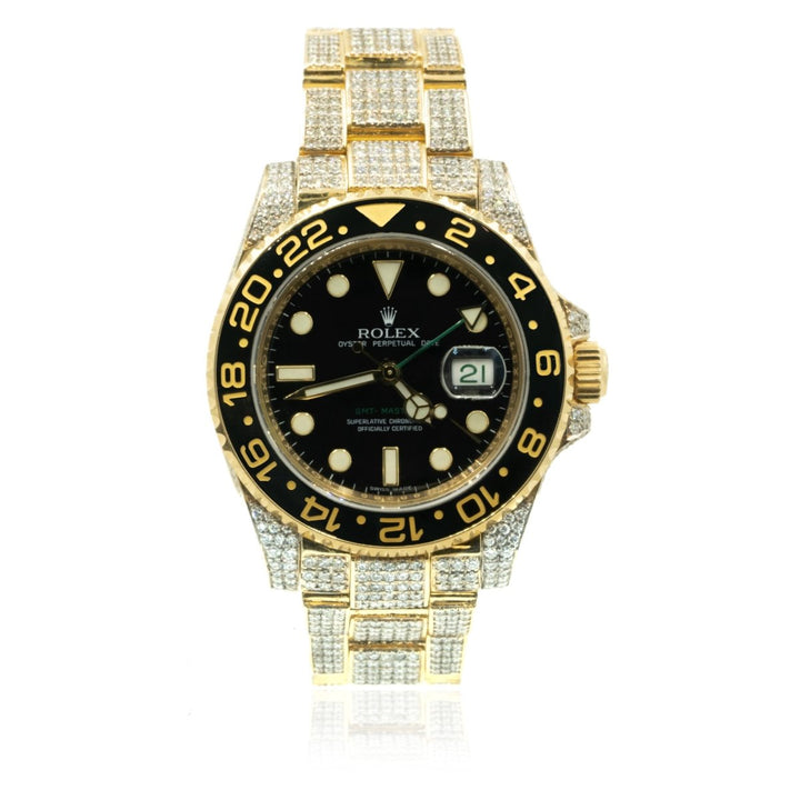Rolex GMT-Master II 116718LN Yellow Gold 16.00CTW Diamond Black Dial Mens Watch - Giorgio Conti Jewelers