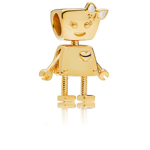 Robot Girl Charm in PANDORA Shine with Shimmering Silver Enamel - Giorgio Conti Jewelers