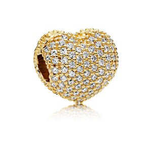 Pave Open My Heart, Clear CZ Heart Pave Gold PANDORA Shine Clip with Clear Cubic Zirconia - Giorgio Conti Jewelers