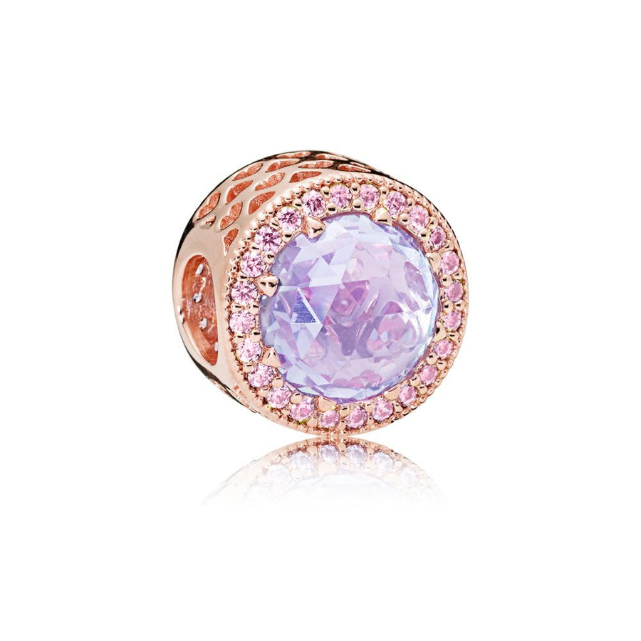 Radiant Hearts, Multi-Colored CZ PANDORA Rose Charm with Lavender Cubic Zirconia and Pink Cubic Zirconia - Giorgio Conti Jewelers