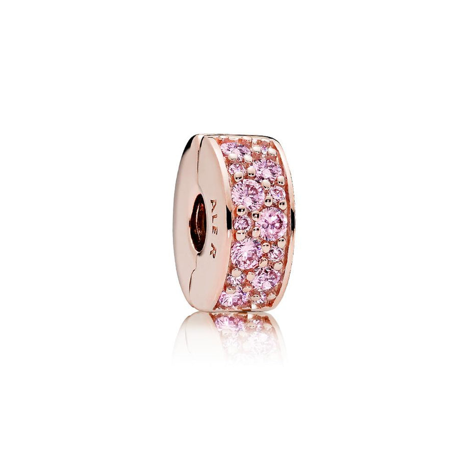 Clip in PANDORA Rose with 28 Bead-Set Pink Cubic Zirconia and Silicone Grip - Giorgio Conti Jewelers
