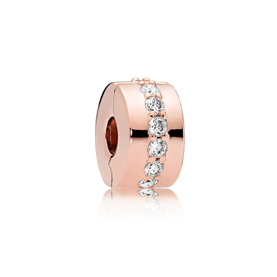 Clip in PANDORA Rose with 12 Bead-Set Clear Cubic Zirconia - Giorgio Conti Jewelers
