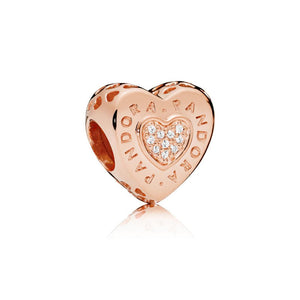 Pandora Logo Heart Charm in PANDORA Rose with 20 Micro Pave-Set Clear Cubic Zirconia - Giorgio Conti Jewelers