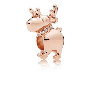 Reindeer Charm in PANDORA Rose with 7 Micro Bead-Set Clear Cubic Zirconia - Giorgio Conti Jewelers