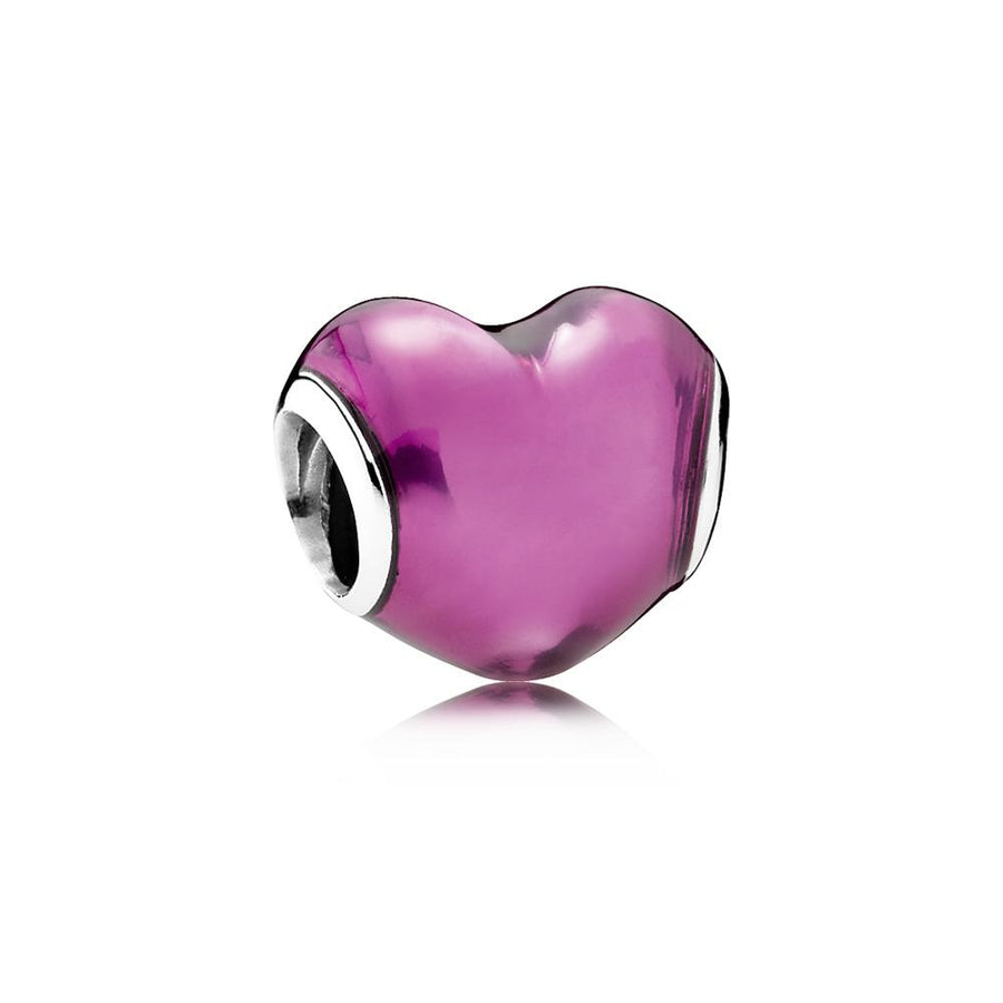 Charm in My Heart with Transparent Fuchsia Enamel - Giorgio Conti Jewelers