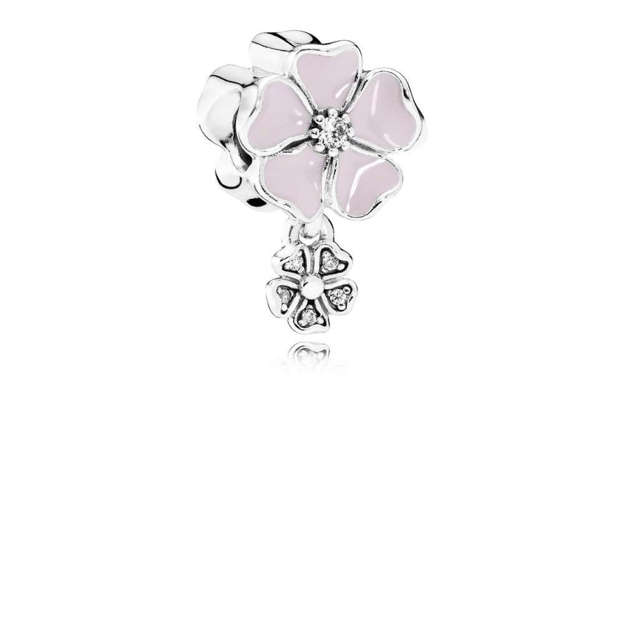 Charm Poetic Blooms with Soft Pink Enamel & Clear Cubic Zirconia - Giorgio Conti Jewelers