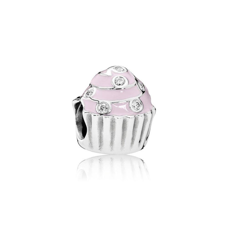 Charm Sweet Cupcake with Light Pink Enamel and Clear Cubic Zirconia - Giorgio Conti Jewelers