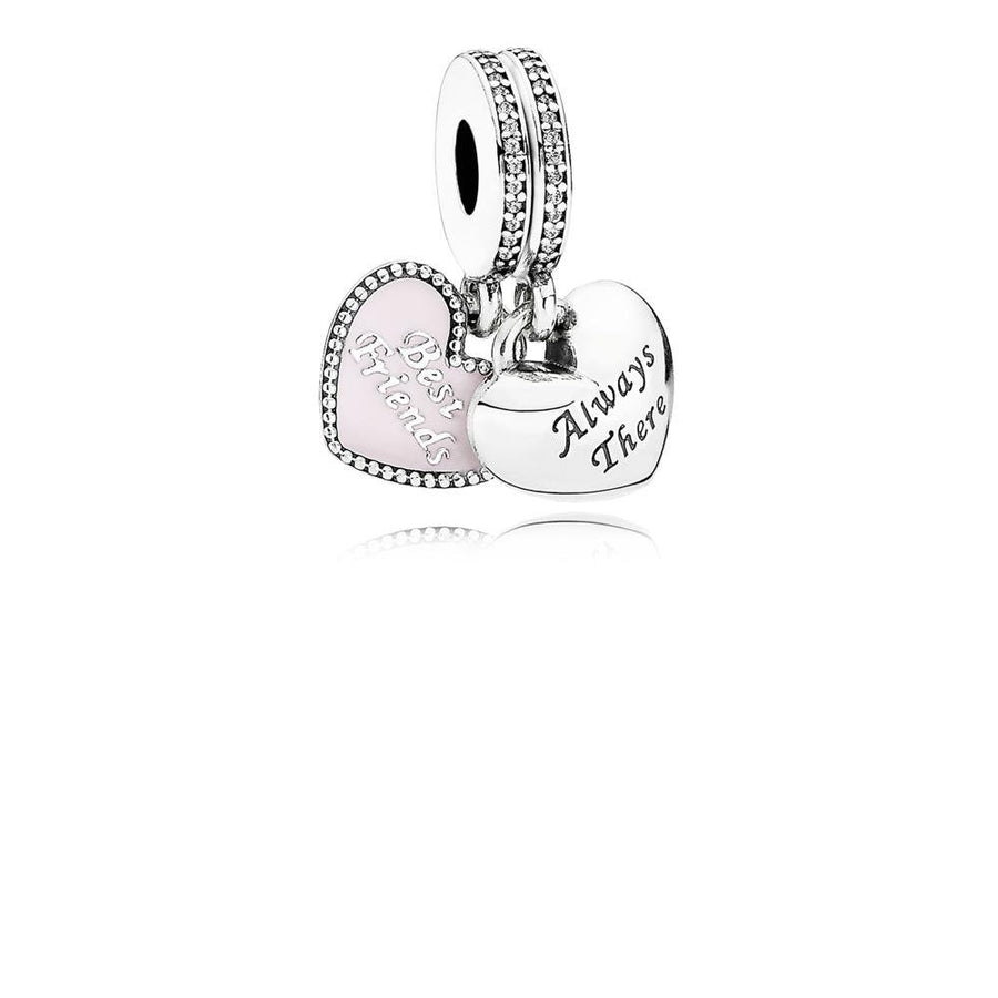 Dangle Best Friends with Soft Pink Enamel and Clear Cubic Zirconia - Giorgio Conti Jewelers