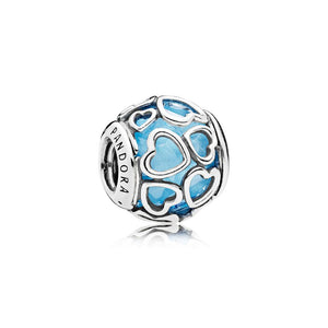 Pandora Blue Encased in Love Heart Charm 792036NBS - Giorgio Conti Jewelers