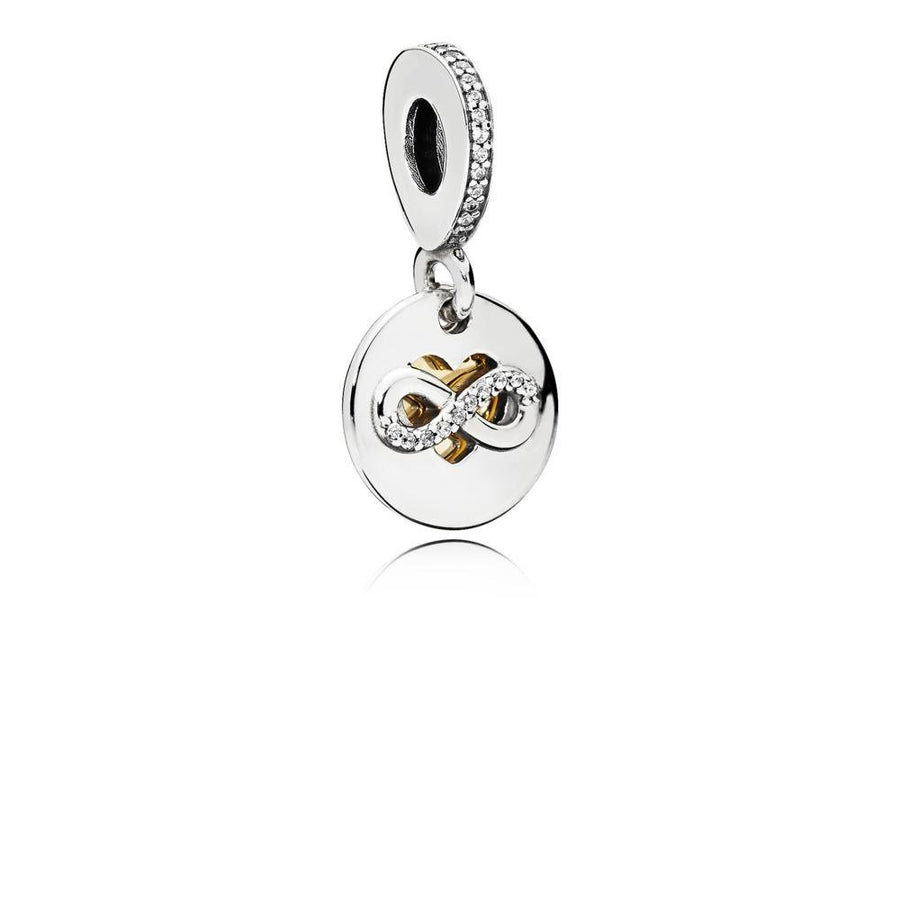 Heart and infinity Dangle in Sterling Silver with 14K Gold Heart and Clear Cubic Zirconia - Giorgio Conti Jewelers