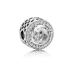Clip in Sterling Silver with Clear Cubic Zirconia and Cut-Out Heart - Giorgio Conti Jewelers