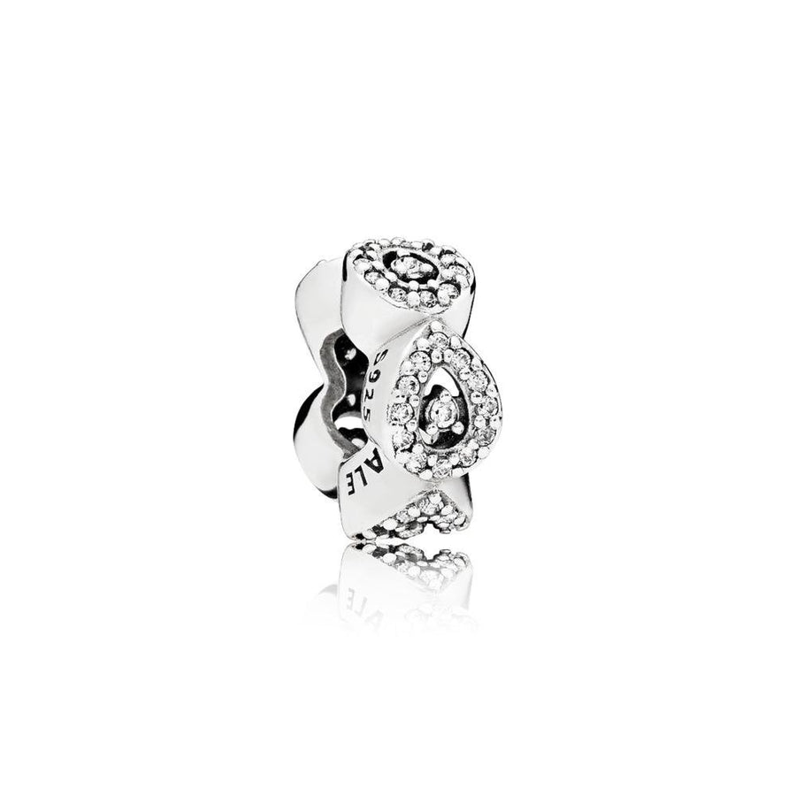 Teardrop Spacer in Sterling Silver with Clear Cubic Zirconia - Giorgio Conti Jewelers