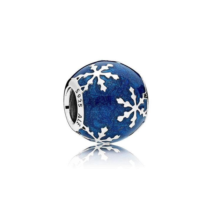Snowflake Charm in Sterling Silver with Shimmering Midnight Blue Enamel - Giorgio Conti Jewelers