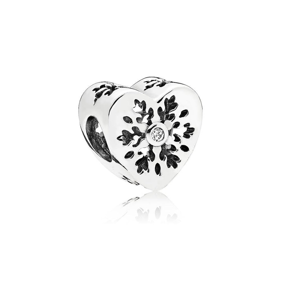 Snowflake Heart Charm in Sterling Silver with Clear Cubic Zirconia and Snowflake Details - Giorgio Conti Jewelers