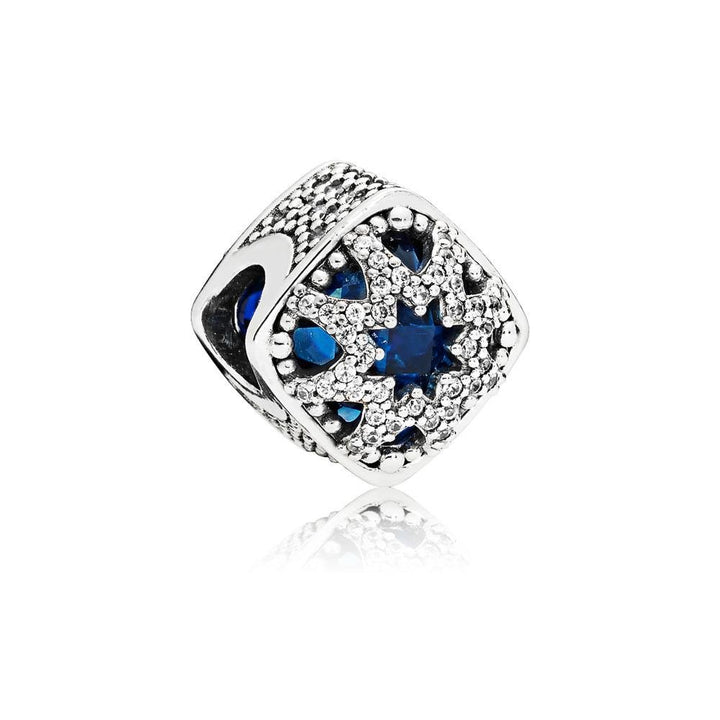 Abstract Charm in Sterling Silver with Swiss Blue Crystals and Clear CZ - Giorgio Conti Jewelers