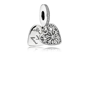 "Ice Crystal Heart Dangle in Sterling Silver with Clear Cubic Zirconia and Engraving ""You Melt My Heart? - Giorgio Conti Jewelers"