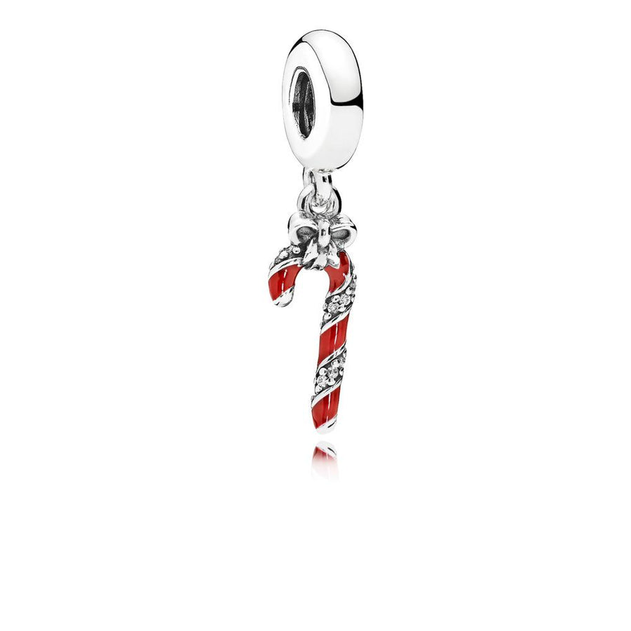 Candy Cane Dangle in Sterling Silver with Clear Cubic Zirconia and Berry Red Enamel - Giorgio Conti Jewelers