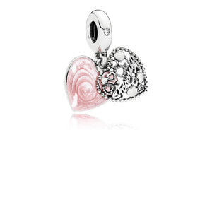 Heart Dangle in Sterling Silver with Engraving, Shimmering Pink Enamel and Clear Cubic Zirconia - Giorgio Conti Jewelers