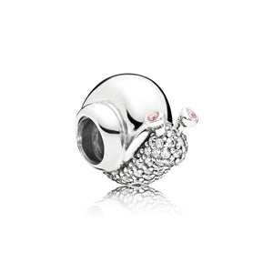 Snail Charm in Sterling Silver with 58 Bead-Set Clear Cubic Zirconia and 2 Bezel-Set Orchid Pink Crystals - Giorgio Conti Jewelers