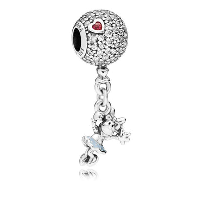 Disney, Floating Minnie Disney Minnie Silver Charm with Clear, Red Cubic Zirconia and Blue Enamel - Giorgio Conti Jewelers