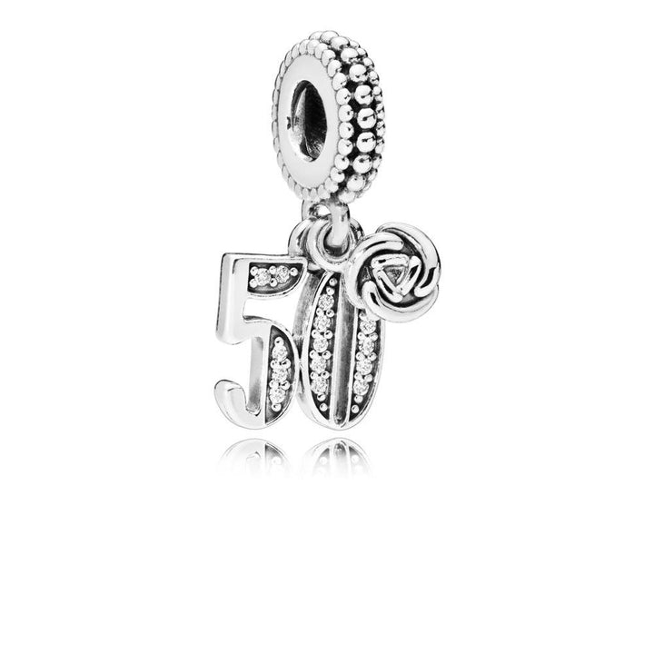 50 Years of Love, Clear CZ Silver Dangle with Clear Cubic Zirconia - Giorgio Conti Jewelers