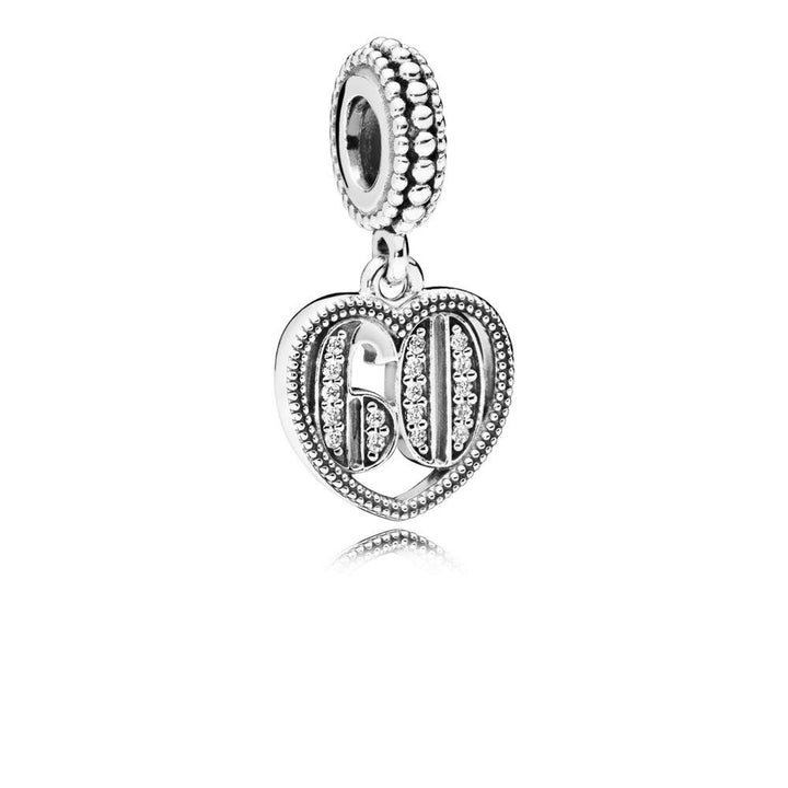 60 Years of Love, Clear CZ Silver Dangle with Clear Cubic Zirconia - Giorgio Conti Jewelers