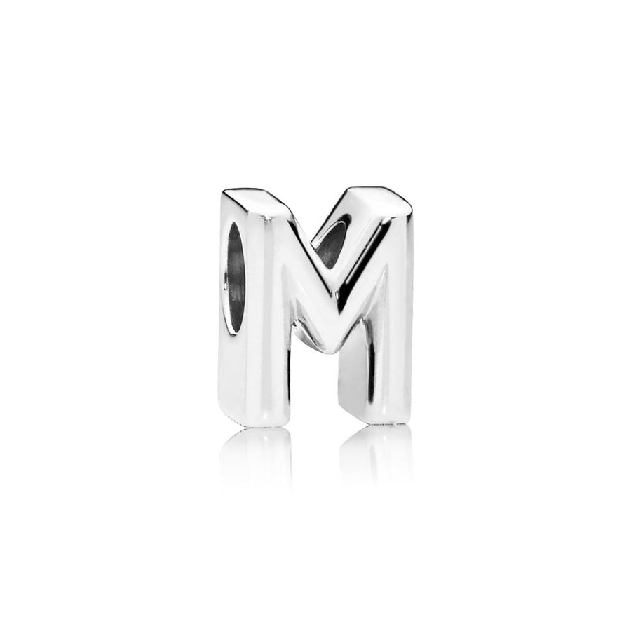 Letter M Charm in Sterling Silver with Heart Pattern - Giorgio Conti Jewelers